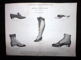 Le Moniteur de la Cordonnerie 1888 Rare Antique Shoe Design Print 09